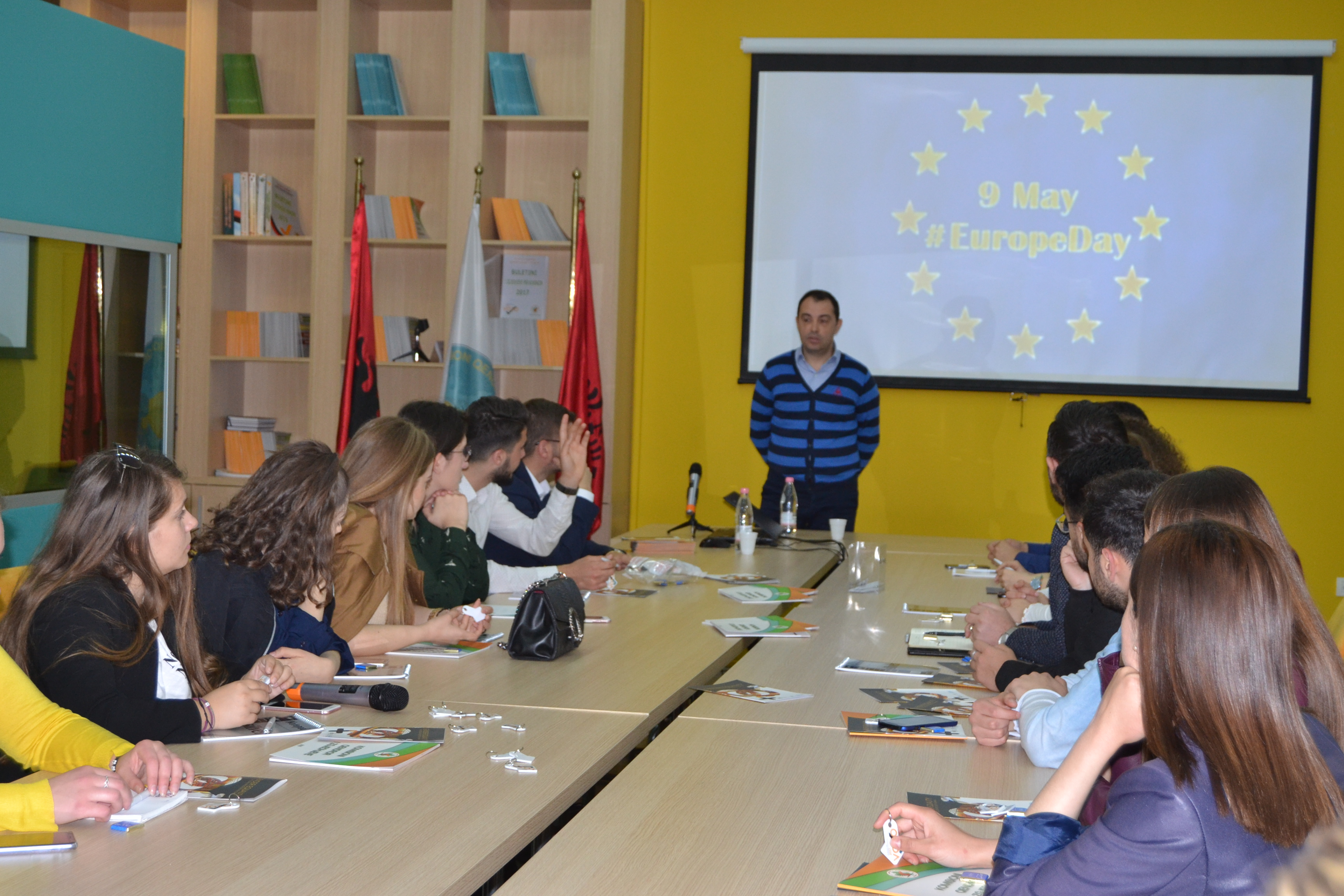 Europe Day , Deputy Chairman of the Central Elections Commissions Mr. Denar Biba meets with young people.